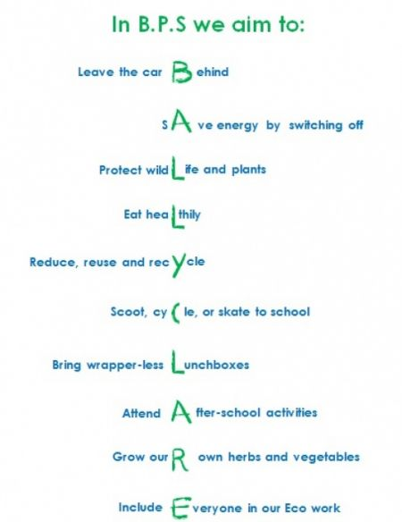 This Eco code is displayed in all of our classrooms to remind us of what we aim to do.